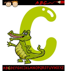 letter c for crocodile cartoon vector image