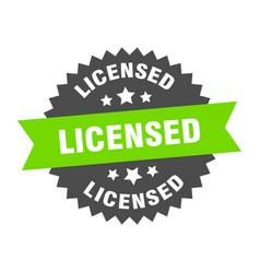 licensed sign green-black circular band vector image