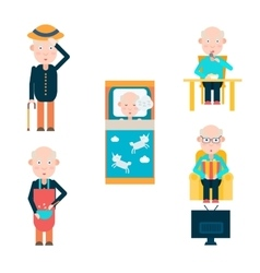 Life of a man in retirement vector