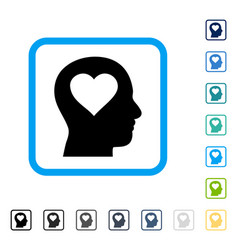 Love in head framed icon vector