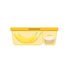 Lunch box with cupcake and banana healthy food vector