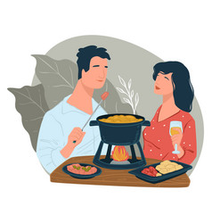 Man and woman eating chinese hot pot in diner vector