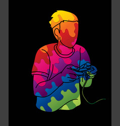 Man playing video games cartoon graphic vector