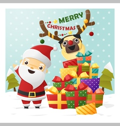 Merry Christmas Greeting card with Santa Claus 1 vector image