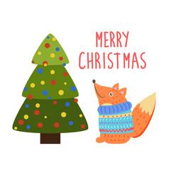 merry christmas greetings cartoon fox or squirrel vector image