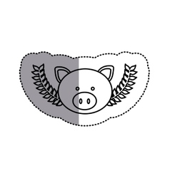 Monochrome contour sticker with pig head and olive vector