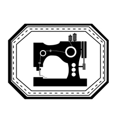 Monochrome silhouette sewing machine in frame vector
