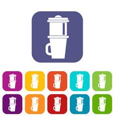 Mug for coffee icons set vector