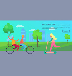 people in park poster vector image