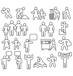 people thin line icons set vector image