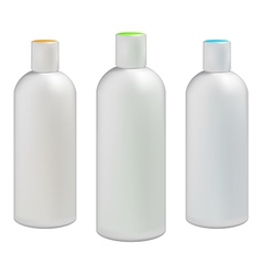 Plastic bottles with colored caps vector image