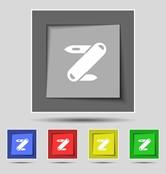 Pocket knife icon sign on original five colored vector