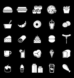 popular food icons on black background vector image