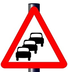 Queuing Traffic Sign vector