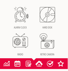 Radio retro camera and alarm clock icons vector