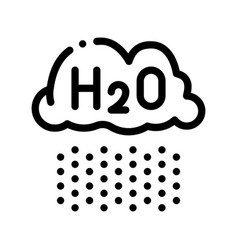 Raining cloud h2o rain thin line sign icon vector