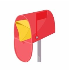 Red mailbox with mail icon cartoon style vector image
