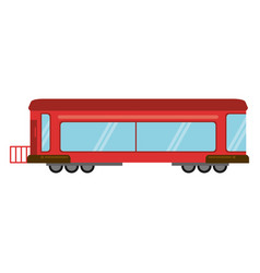 Red train rail passenger transport vector