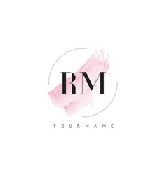 Rm r m watercolor letter logo design with vector