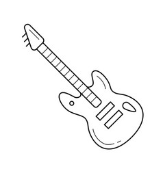 rock guitar line icon vector image