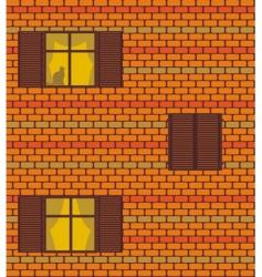 seamless brick wall and windows vector image