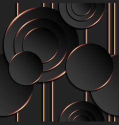 seamless pattern black circles gold contour vector image