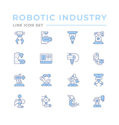 set color line icons robotic industry vector image