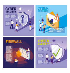Set icons of cyber security vector