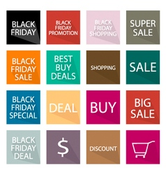 Set of 16 Black Friday Banner for Special Price vector image