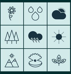 Set of 9 harmony icons includes landscape vector