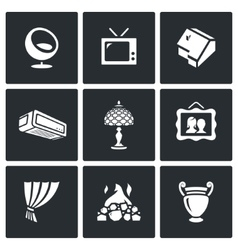 Set of House and Interior items Icons vector image