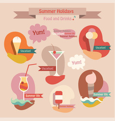 set of summer drinks and food icecream juice vector image