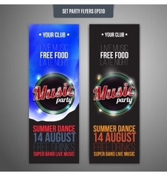 Set of two vertical music party flyers with color vector image
