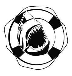 Shark in Lifebuoy on a white background vector image