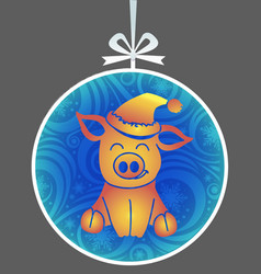 silhouette little pig toy vector image