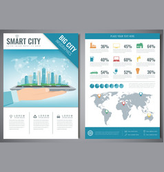 Smart city brochure with infographic elements vector