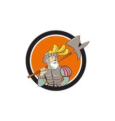 Spanish Conquistador Ax Sword Circle Cartoon vector