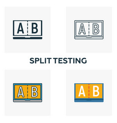 Split testing icon set four elements in different vector
