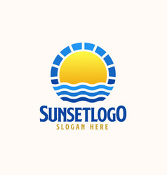 Sunset logo template logo vector