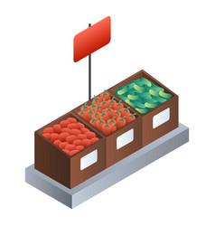 supermarket vegetable wood box icon isometric vector image
