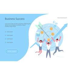 team of businessmen jump for joy vector image