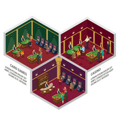 Three casino isometric interior compositions vector