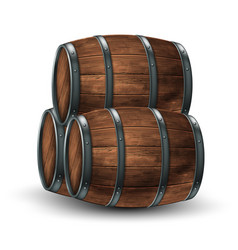 three wooden barrels for wine or other drinks vector image