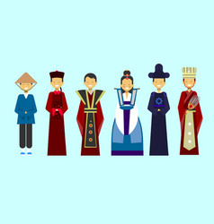 Traditional asian clothes set people wearing vector