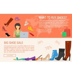 Two banners online shopping and woman shoe sale vector image