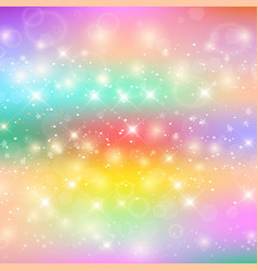 unicorn rainbow at holographic glow sky background vector image