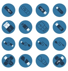 USB dark blue flat icons vector image