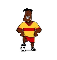 Victorious soccer player posing with a ball vector image vector image