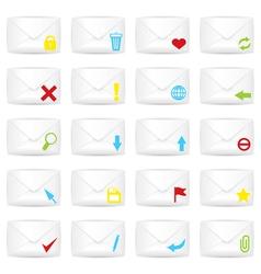 White closed twenty envelopes icon set vector image