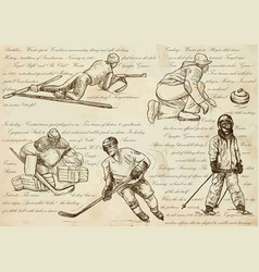 Winter sports - an hand drawn line vector
